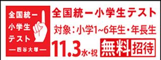 無料11月3日(水祝)全国統一小学生テスト